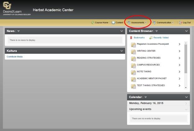 HAC D2L page Assesments Link
